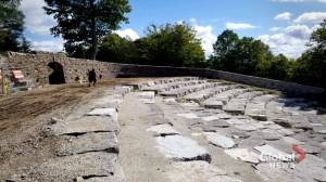 First Nations craftsmen work to restore stone amphitheatre