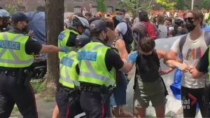 Questions about police tactics during Toronto park evictions (02:10)