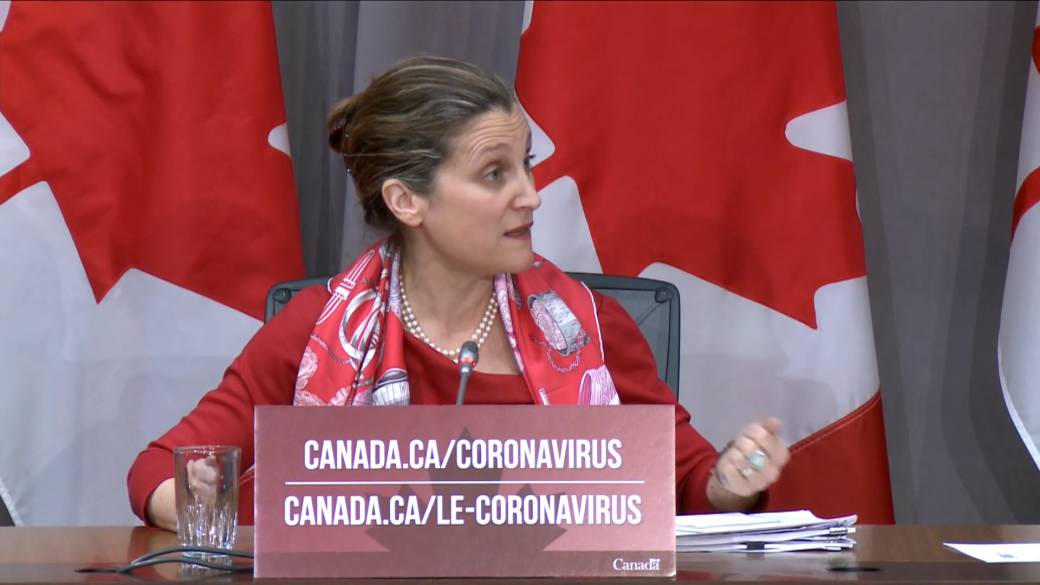 Click to play video 'Coronavirus outbreak: Freeland says global PPE situation is like the 'wild west''