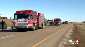 Colby Cave honoured with procession on Saskatchewan highway