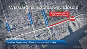 Sherbourne-Jarvis off-ramp on westbound Gardiner Expressway closing for construction until spring
