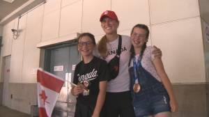 B.C.'s Olympic softball bronze medal winners arrive home (01:57)