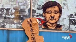 Protests continue in Hong Kong despite mask ban (00:49)