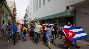 Massive anti-government protests in Cuba; president blames US for unrest (05:35)