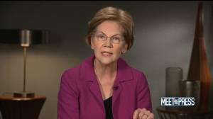 "Elizabeth Warren says Trump administration moving U.S. ""to the edge of war"" (00:55)"