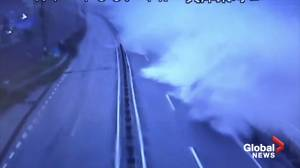 Waves crash onto Japan highway as Typhoon Hagibis makes landfall