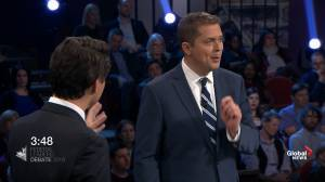 Leaders' Debate: Scheer presses Trudeau on SNC-Lavalin affair