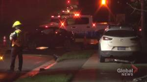1 woman taken to hospital following 2-vehicle crash in Peterborough (00:31)