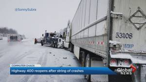 Highway 400 south of Barrie reopens after multiple crashes