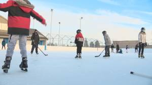 Free Play for Kids program gifted outdoor rink at Edmonton community league (01:50)