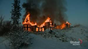 Large fire near Calgary destroys house under construction
