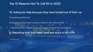 E-Comm: 10 top list of calls that don't belong on 911 (00:41)