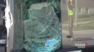 Collision between pickup trucks collisions section of Lansdowne Street in Peterborough (00:45)