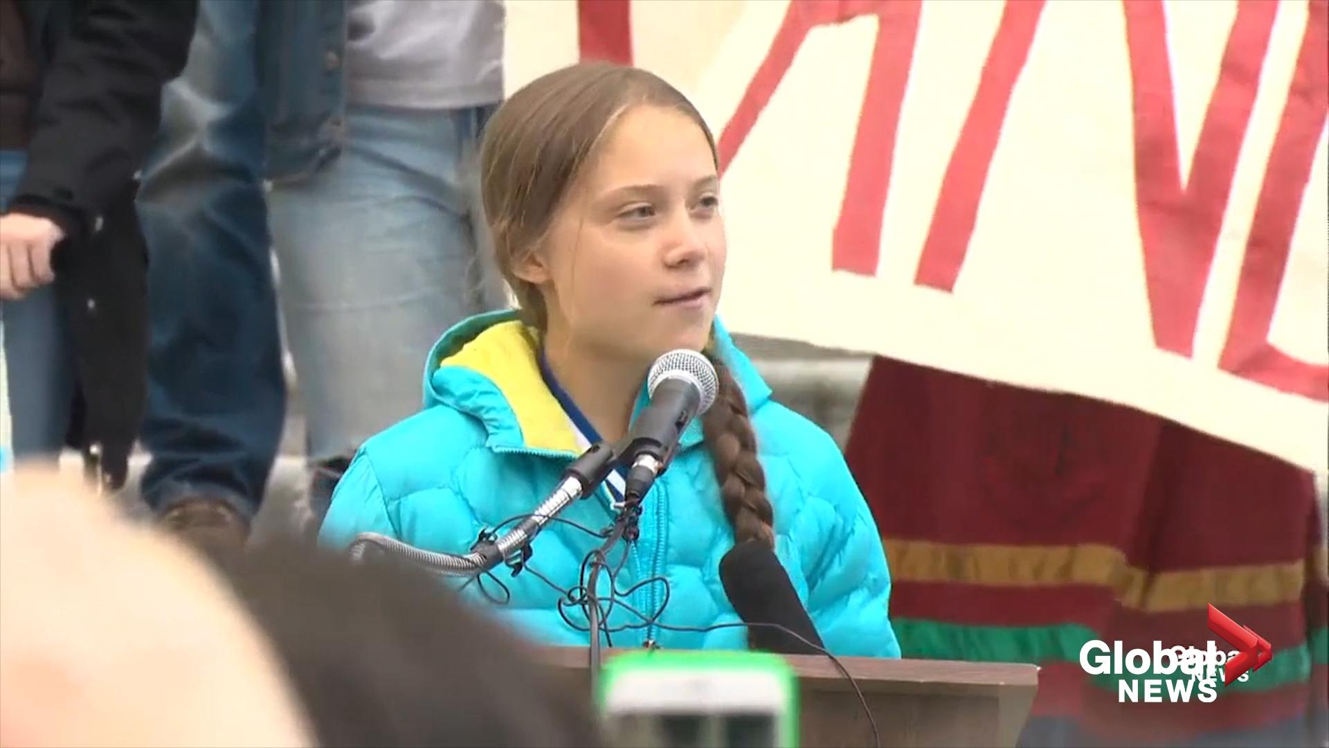 Greta Thunberg delivers speech at Alberta legislature in Edmonton
