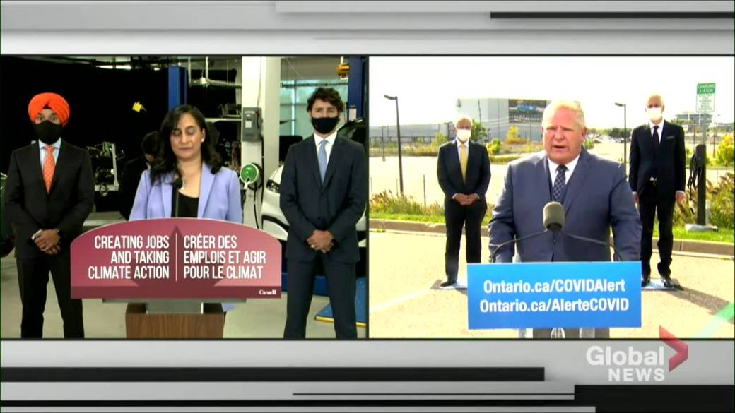 Click to play video 'Ontario Premier Doug Ford announces province working with feds, Oakville to purchase new electric buses, charging stations'
