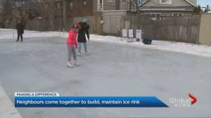 Toronto neighbourhood comes together to build a community ice rink (02:57)