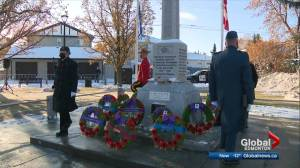Scaled down Remembrance Day ceremony at Edmonton's Beverly Memorial Cenotaph (02:33)