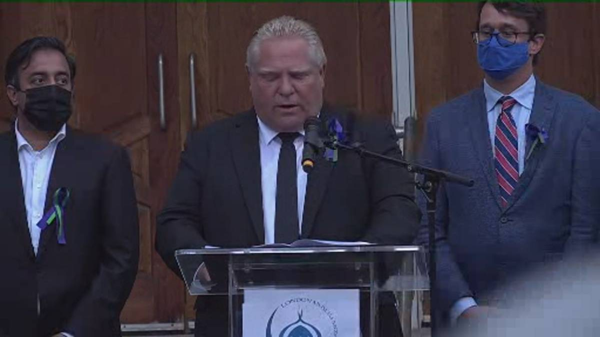 Click to play video: 'Ford says racism can't and won't be tolerated during vigil of London, Ont. family killed'