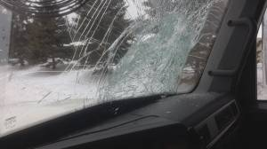 Ontario man says he's lucky to be alive after ice smashes through windshield