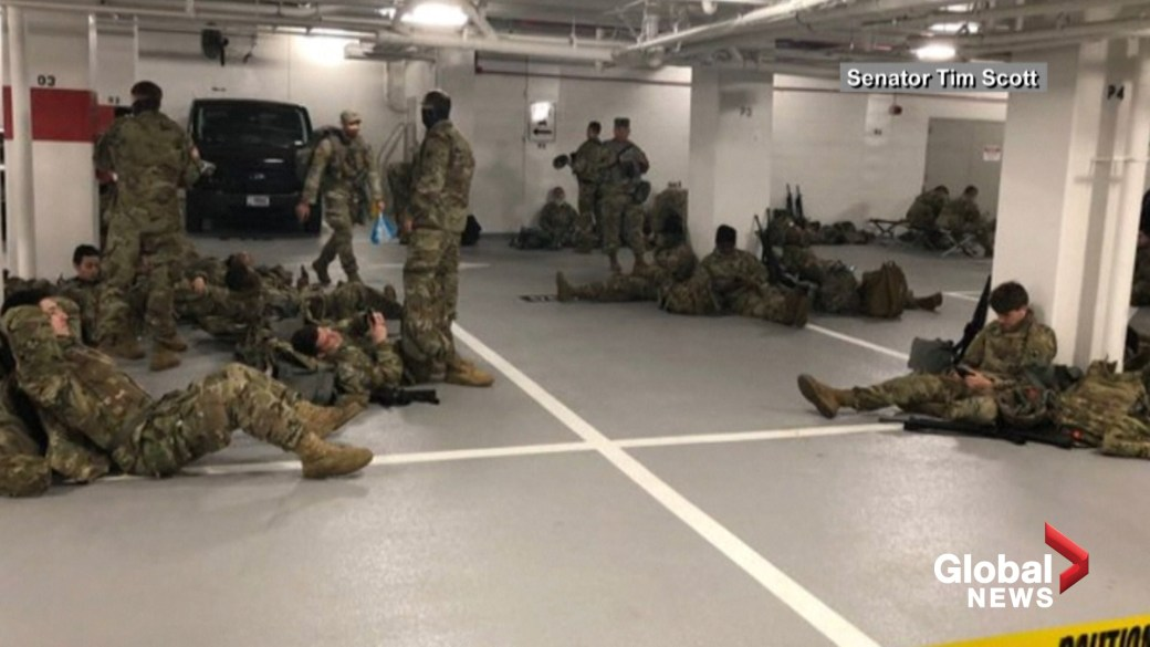 Click to play video 'Lawmakers, first lady thank National Guard troops after 'parking garage' controversy'