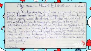 Coronavirus outbreak: Halifax girl writes letter to Trudeau asking him to bring dad home from Dubai