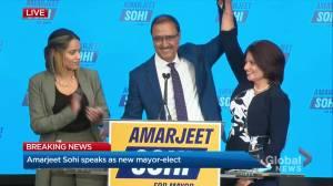 Amarjeet Sohi speaks as new mayor-elect of Edmonton (08:11)