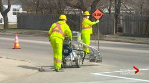Saskatoon road lane lines painting underway with caution (01:22)