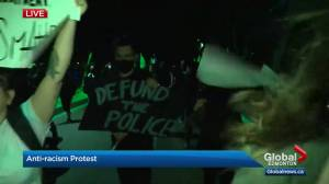 Edmonton late night peaceful protest moves across the river