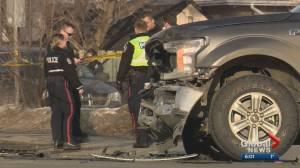 Edmonton police investigate crash on Whyte Avenue and 99 Street
