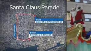 Toronto Santa Claus Parade changes route, numerous road closures to be put in place