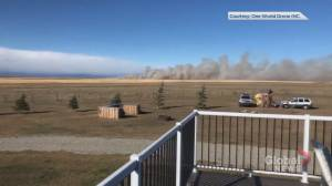 Video shows strong wind and fire near High River, Alta.