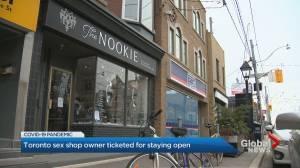 Coronavirus: Toronto sex shop owner refuses to shut doors, claims store is essential (02:07)