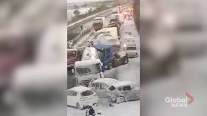 Snowstorm causes fatal 134-car pileup on Japanese expressway (03:45)