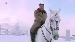 North Korea state TV airs new video of Kim Jong Un riding horse up sacred mountain with aides (02:55)