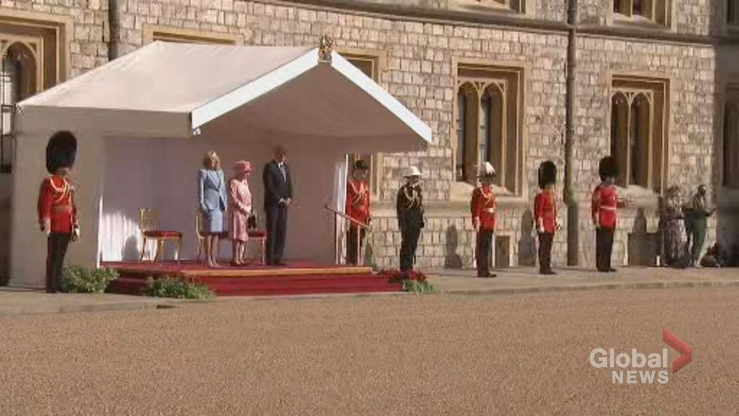 Click to play video: 'Bidens meet with Queen Elizabeth II, inspect guard of honour'