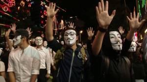 Hong Kong protesters don Guy Fawkes masks in demonstration against ban