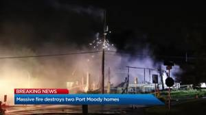 Two homes under construction go up in flames in Port Moody (00:47)
