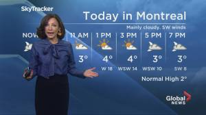 Global News Morning weather forecast: Monday November 25, 2019