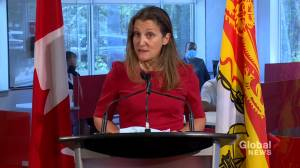 Chrystia Freeland makes a stop at Clinic 554 in Fredericton (01:41)