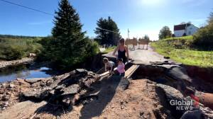 New Brunswick residents relieved road washout will be permanently fixed by province (01:51)