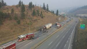 Man pulled to safety after semi-trucks collide near Kamloops (00:44)