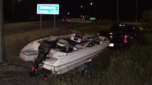 Truck towing boat in Cobourg, Ont. swerves into ditch