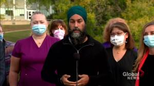 Canada election: Singh condemns Conservative provincial Prairie governments, Trudeau for COVID-19 response amid 4th wave (01:07)