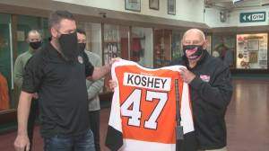 Community of Trail celebrates hockey coach Ken Koshey (01:41)