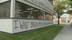 Kelowna's mayor says anti-COVID message spray-painted on city hall building is not only criminal but misguided (02:08)