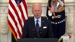 Biden sets new COVID-19 vaccine goal, aims to have 70% American adults inoculated by July 4 (01:11)