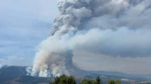 An enormous column of smoke rises from the White Rock lake wildfire (00:39)