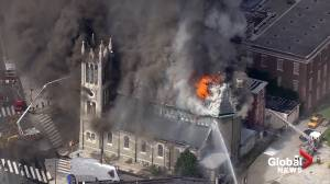 Flames, smoke pour from church in Philadelphia (03:28)