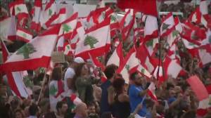 Thousands of anti-government protesters take to the streets of Beirut in Lebanon