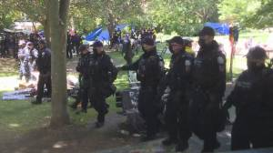 Dozens of Toronto police, bylaw officers, security move to remove Trinity Bellwoods Park homeless encampment (01:13)